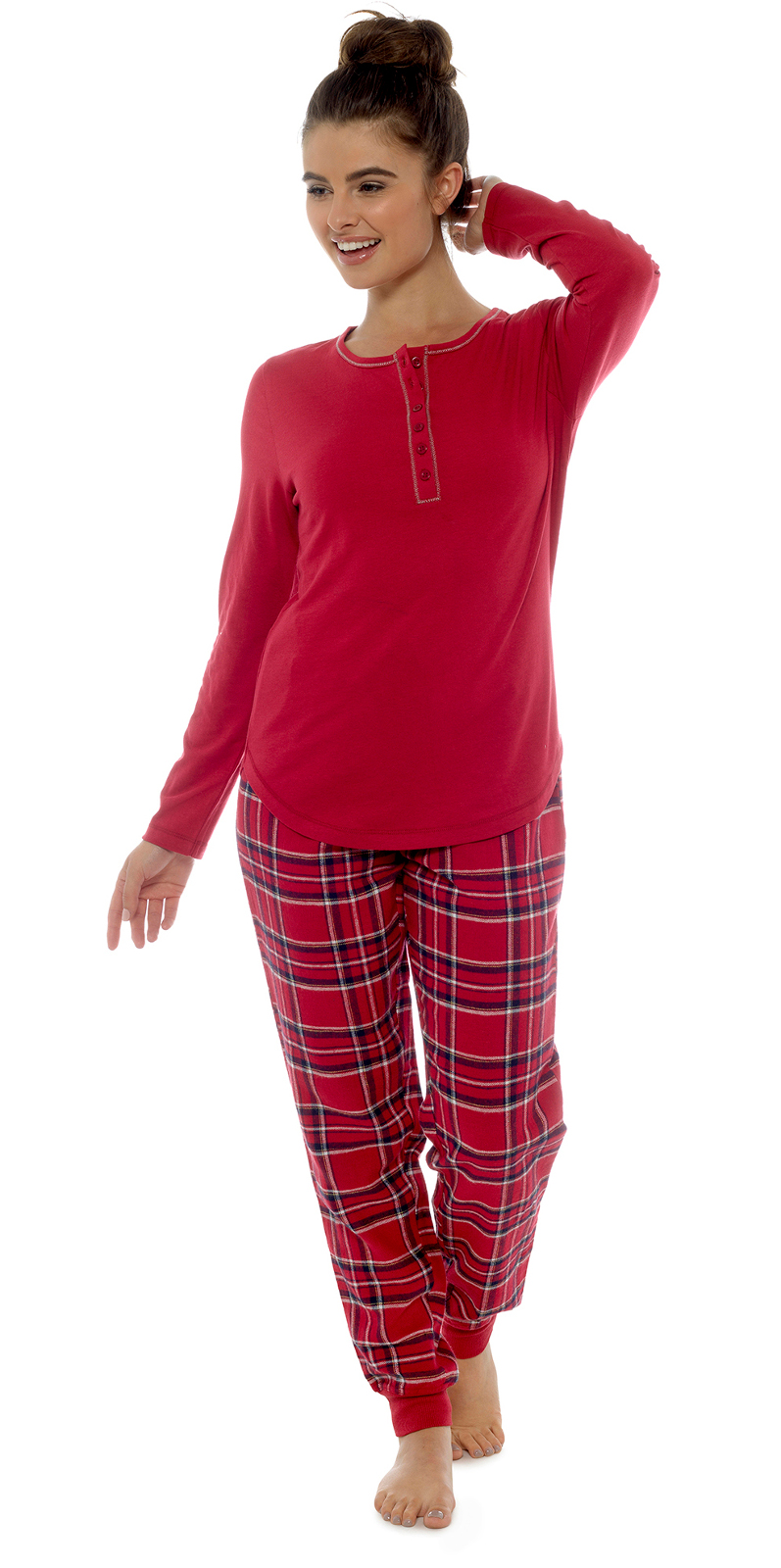 Womens Pyjamas Full Length 2 Piece Set Top + Cuffed Bottoms Lounge ... 0e6a7707e