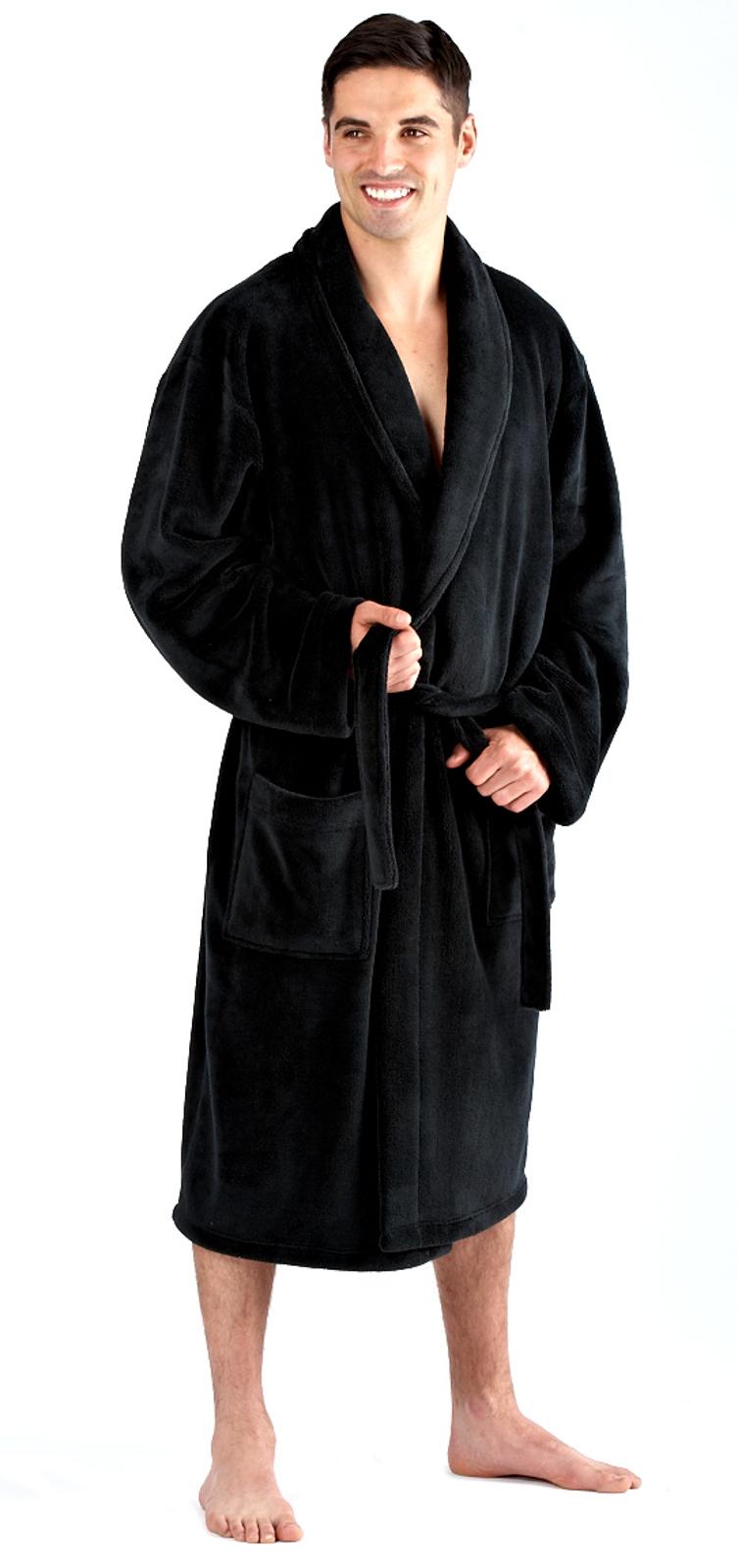 Mens Luxury Dressing Gowns Fleece Bath Robes House Coat