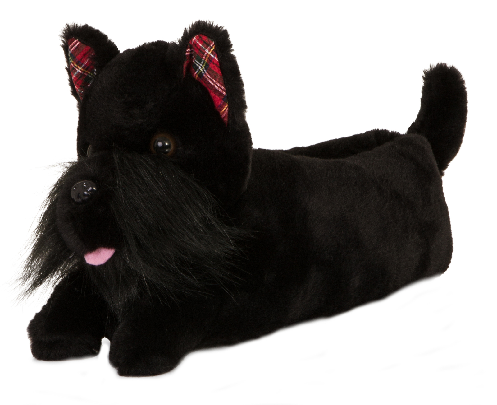 Girls Black Scotty Dog Faux Fur 3D Novelty Slippers In 3 UK Sizes Ladies