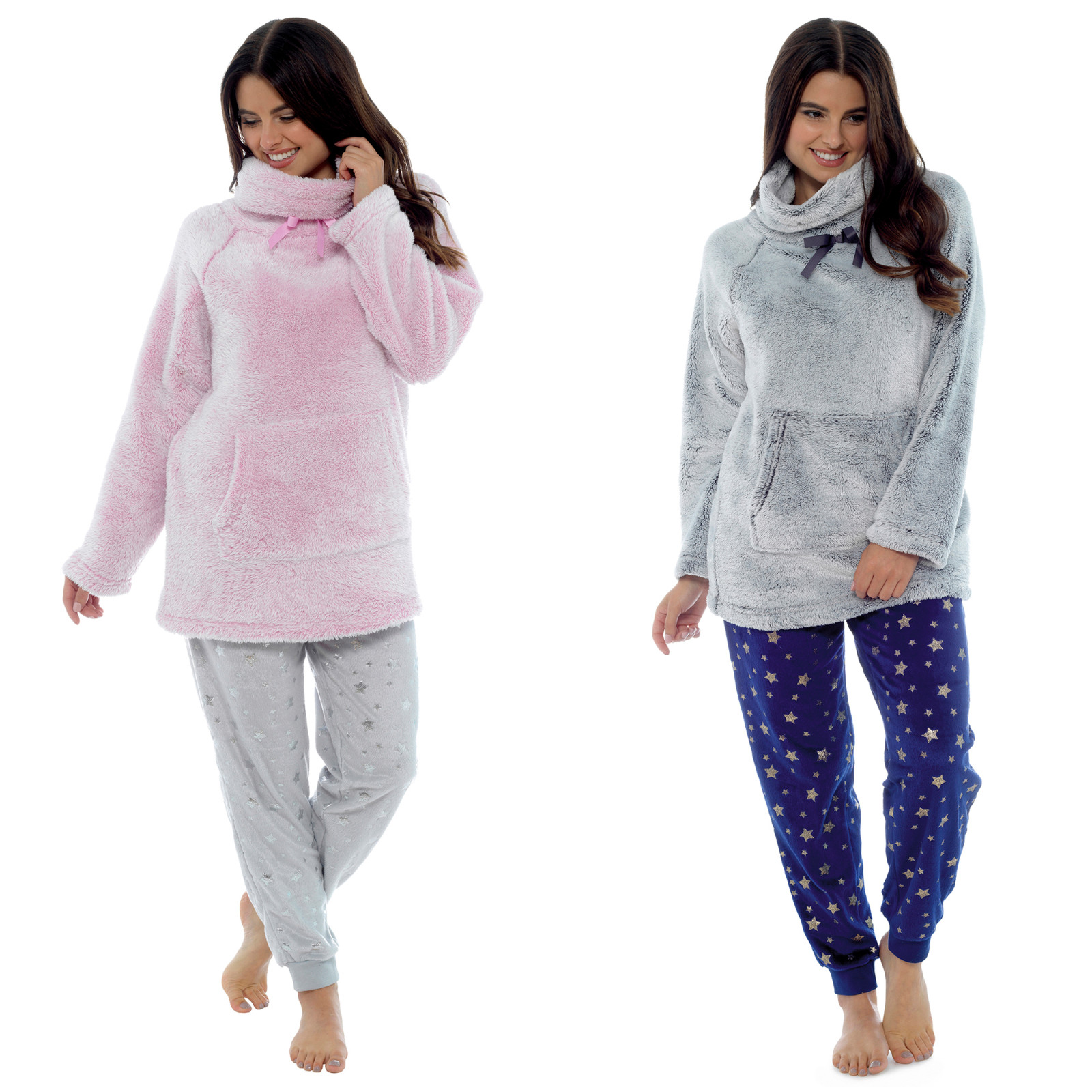 Womens Snuggle Fleece Cowl Neck Top Cuddle Jumper Lounge