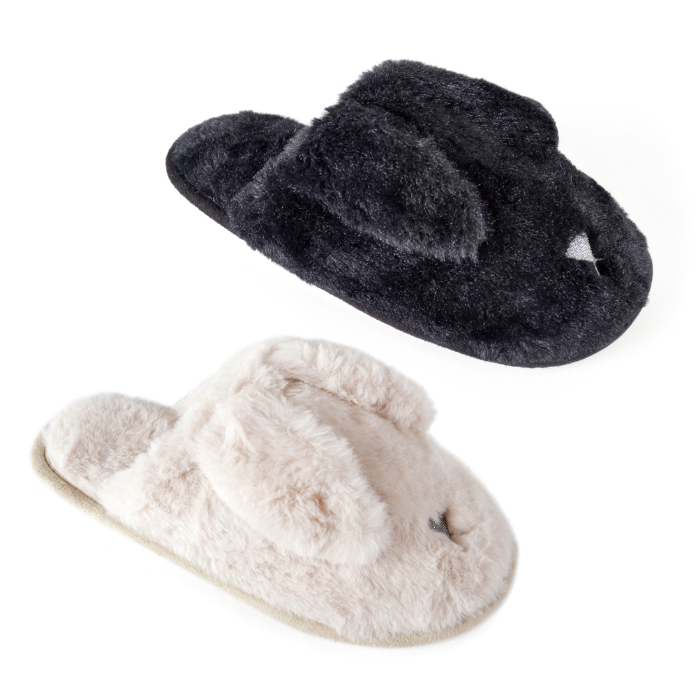 656243025 Womens 3D Novelty Mules Soft Faux Fur Bunny Rabbit Slippers Xmas Gift Size