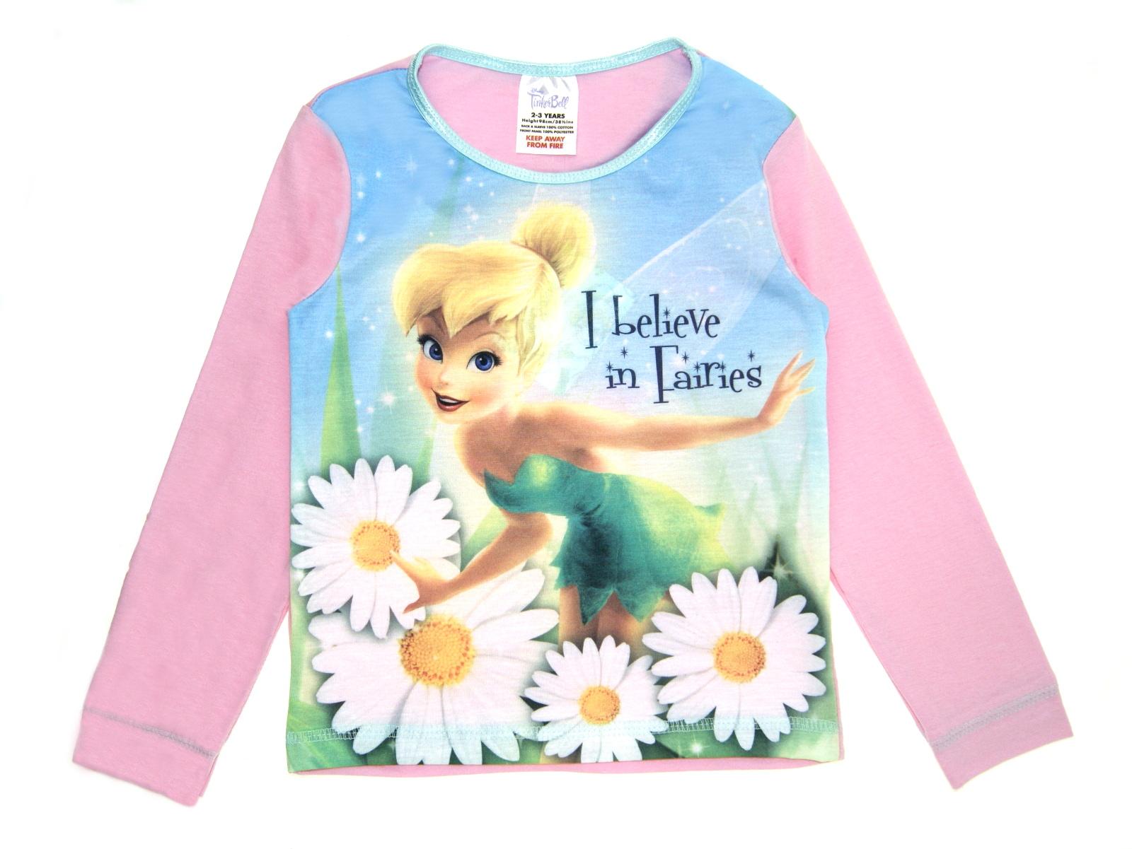 e5599e42d91 Disney Tinkerbell Long Pyjamas Girls Fairy 2 Piece Pjs Set Kids ...