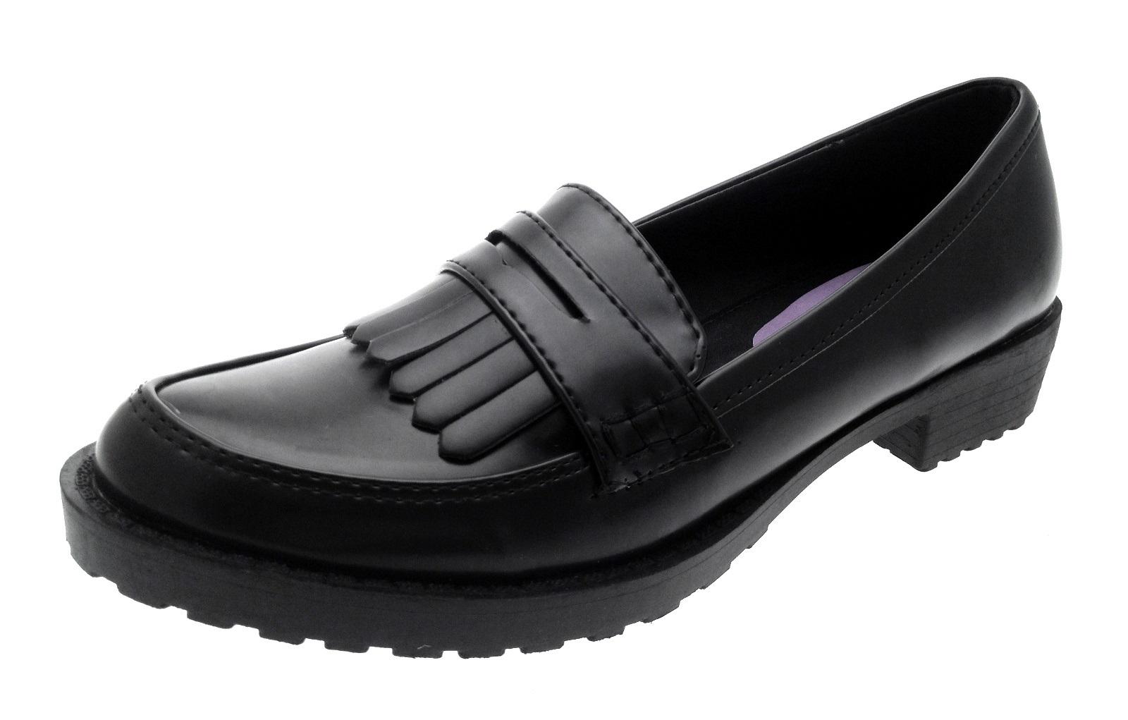 1c7326d3ee1e Kids Girls Black Faux Leather School Shoes Childrens Smart Casual ...
