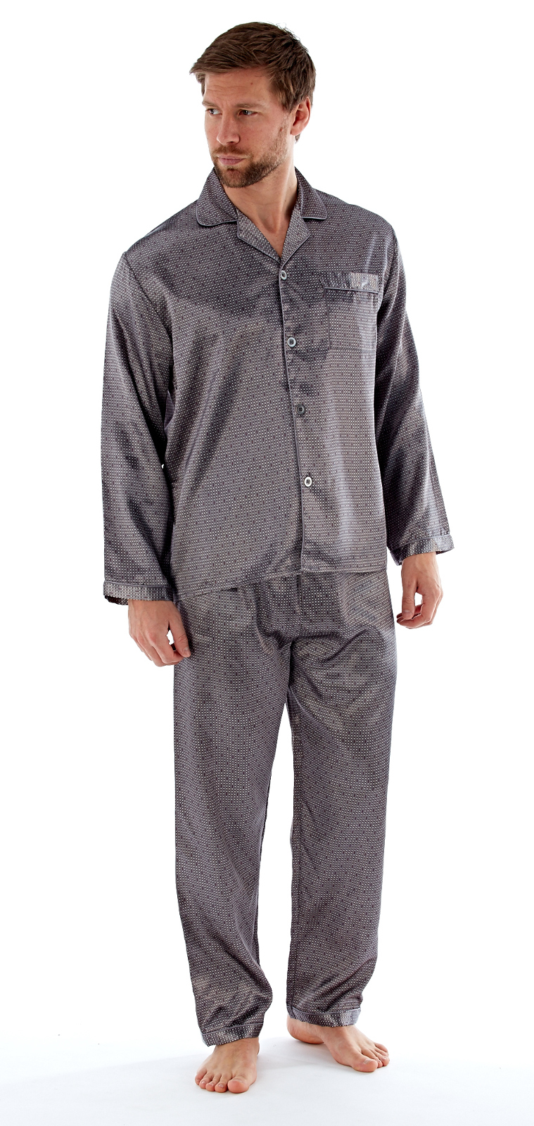Satin Pyjamas Traditional Silky Pjs