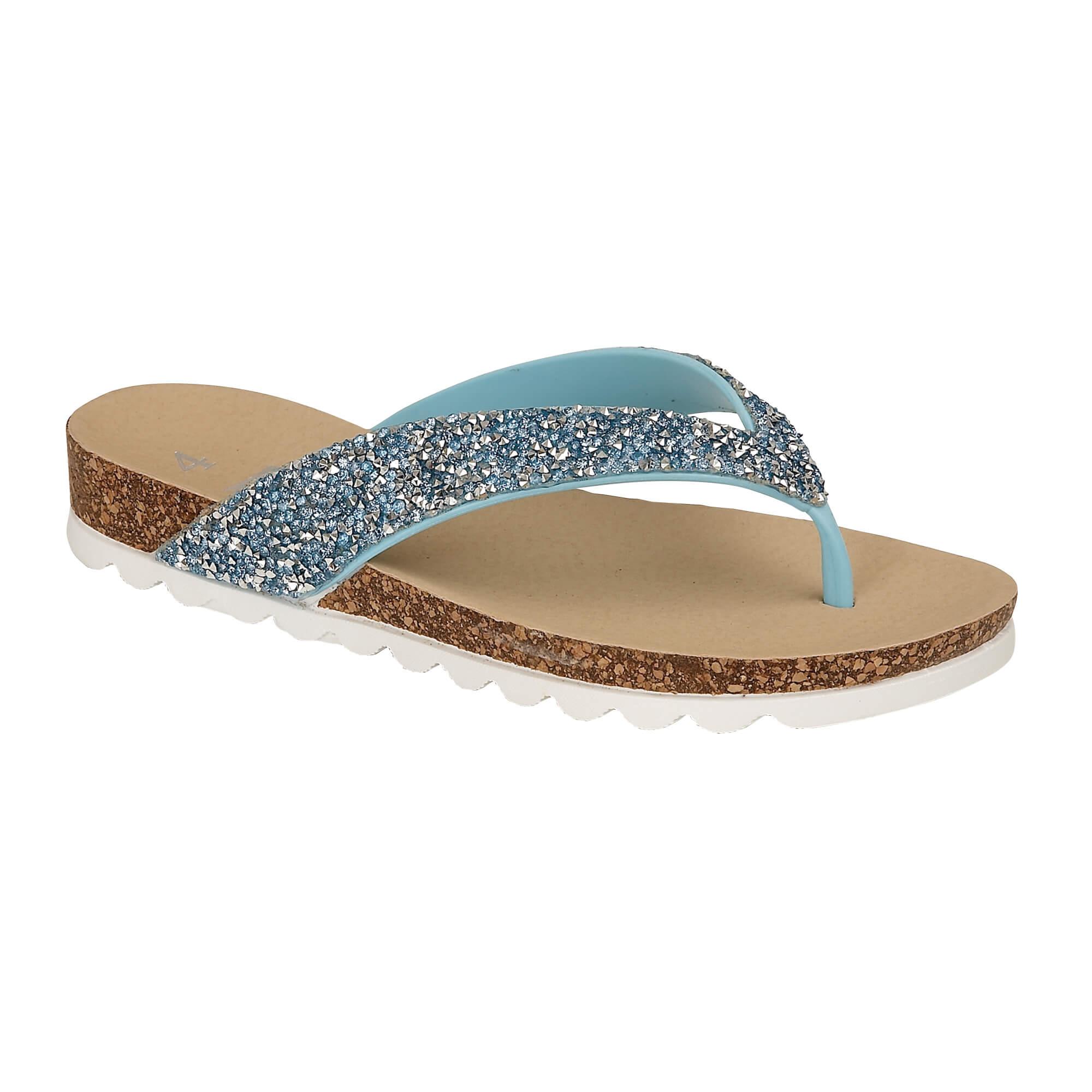 cba371e67d48 Womens Diamante Glitter Summer Sandals Jewel Toe Post Mules Comfort ...