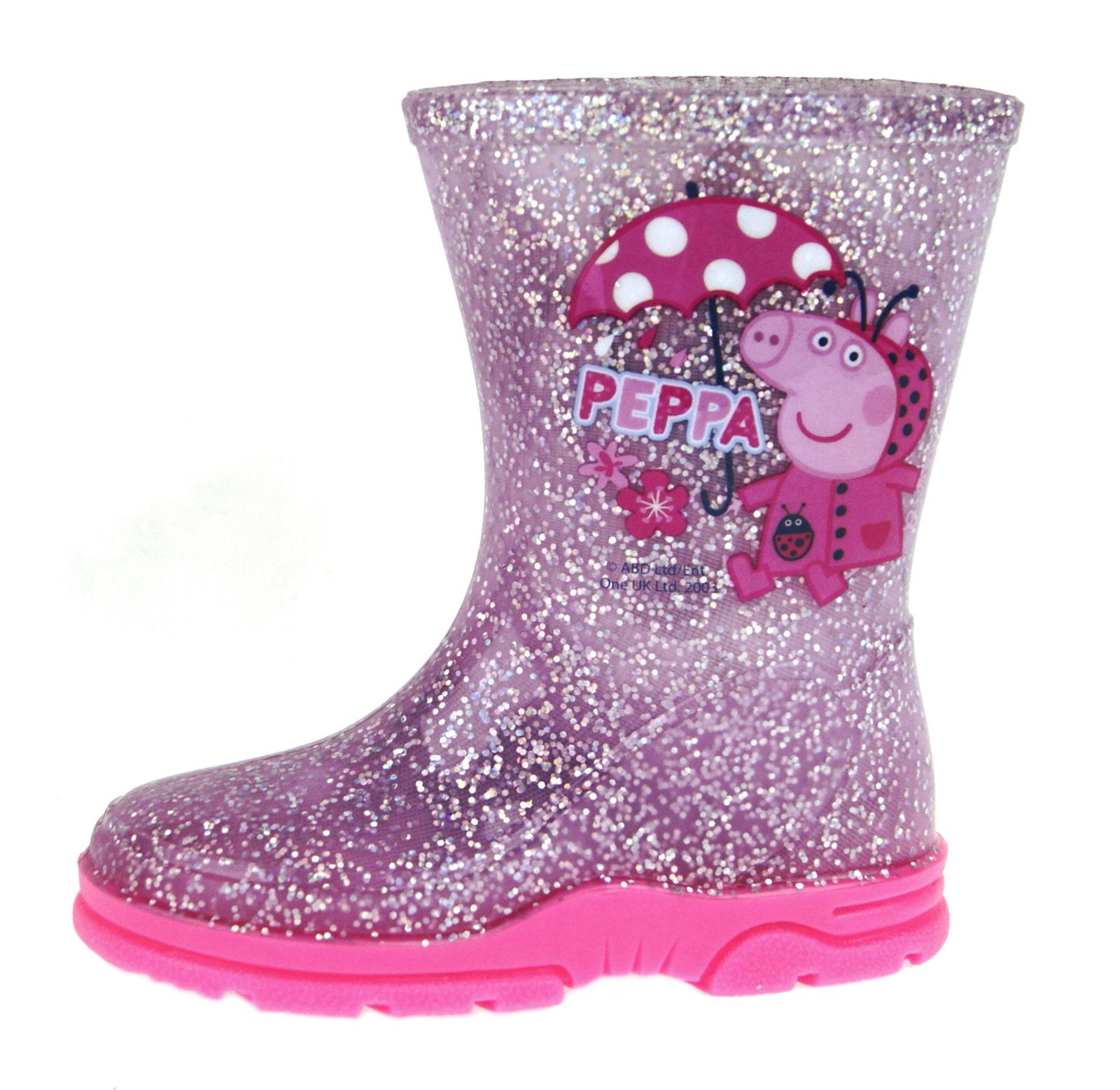 Girls-Peppa-Pig-Wellington-Boots-Mid-Calf-Gitter-Snow-Rain-Wellies-Kids-Size Indexbild 19
