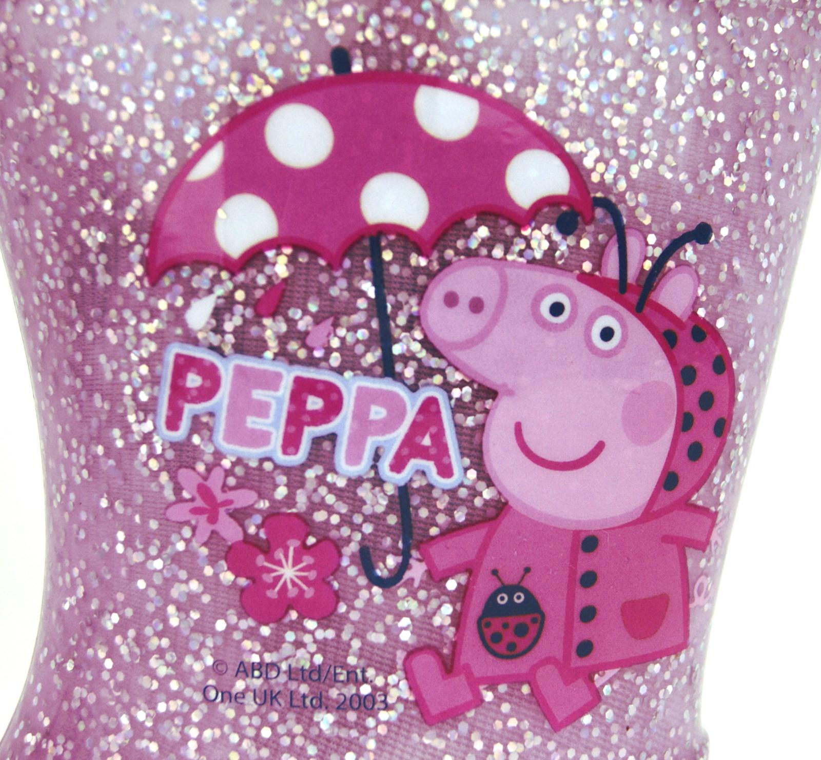 Girls-Peppa-Pig-Wellington-Boots-Mid-Calf-Gitter-Snow-Rain-Wellies-Kids-Size Indexbild 25