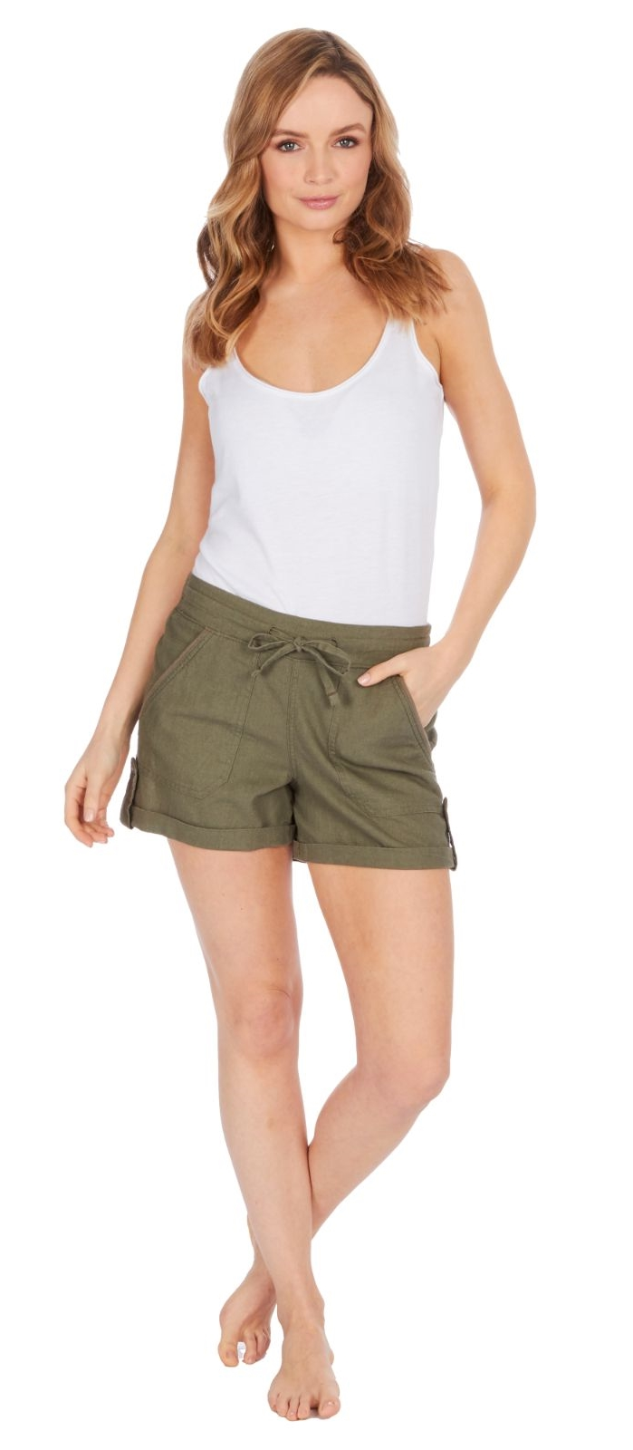 New Women Summer Beach White Shorts from South size:8-10