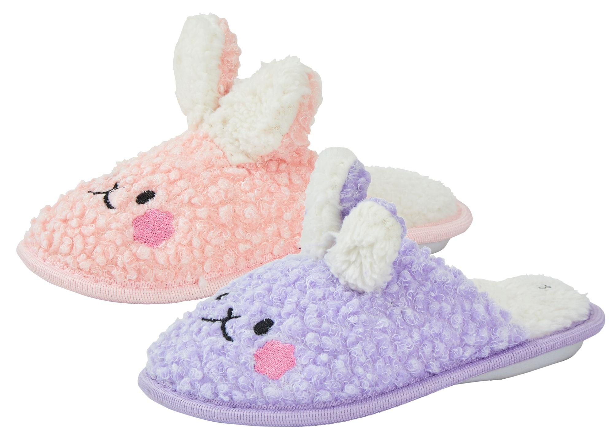 Girls Fluffy Slippers Bunny Rabbit
