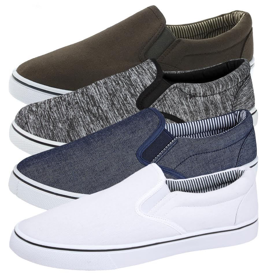 Mens Canvas Plimsolls Slip On Flat Pumps Trainers Casual Gym Shoes Boys Size | EBay