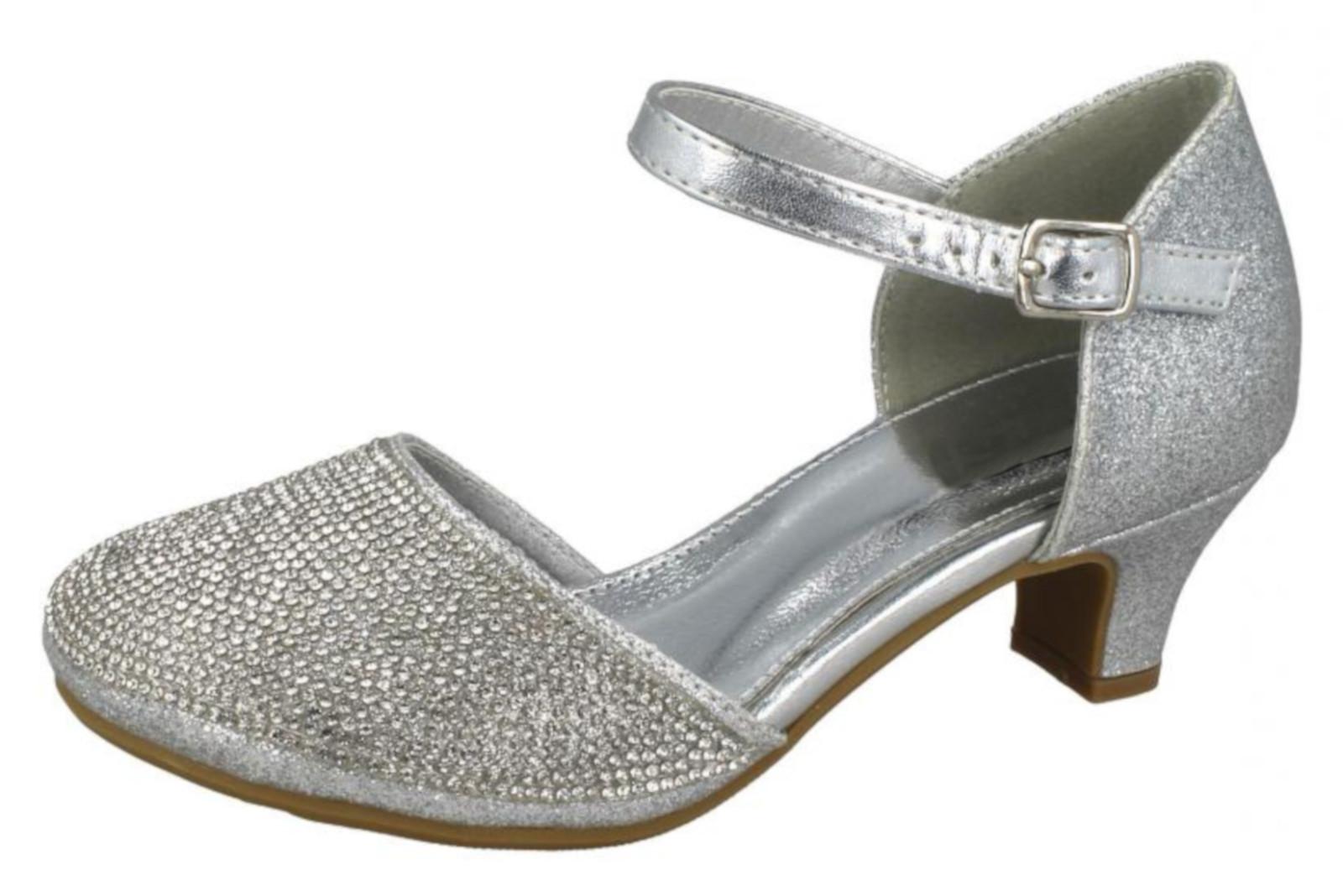 1261e82120d7 Kids Girls Mary Jane Party Shoes Diamante Glitter Bridesmaids ...