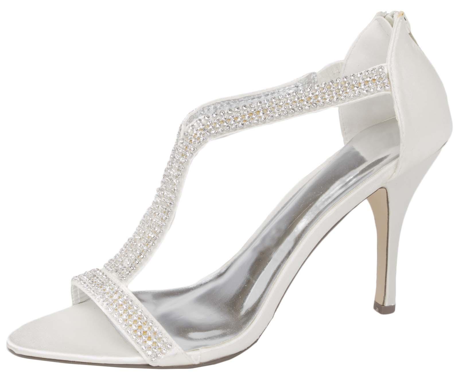 Womens Diamante Wedding Shoes T Bar Stiletto High Heels Ptoe Party Size