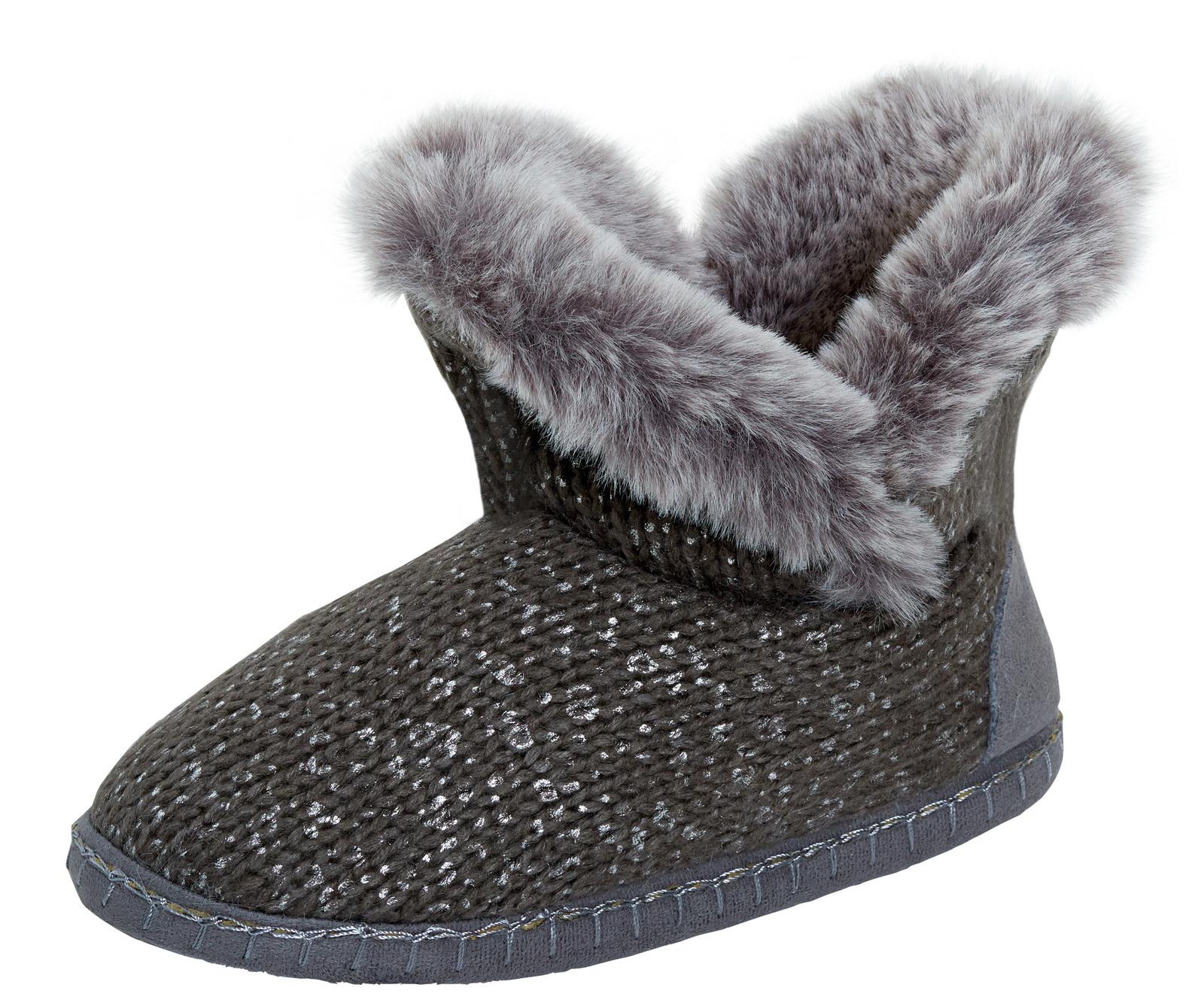 Womens Faux Fur Lined Grey Slipper