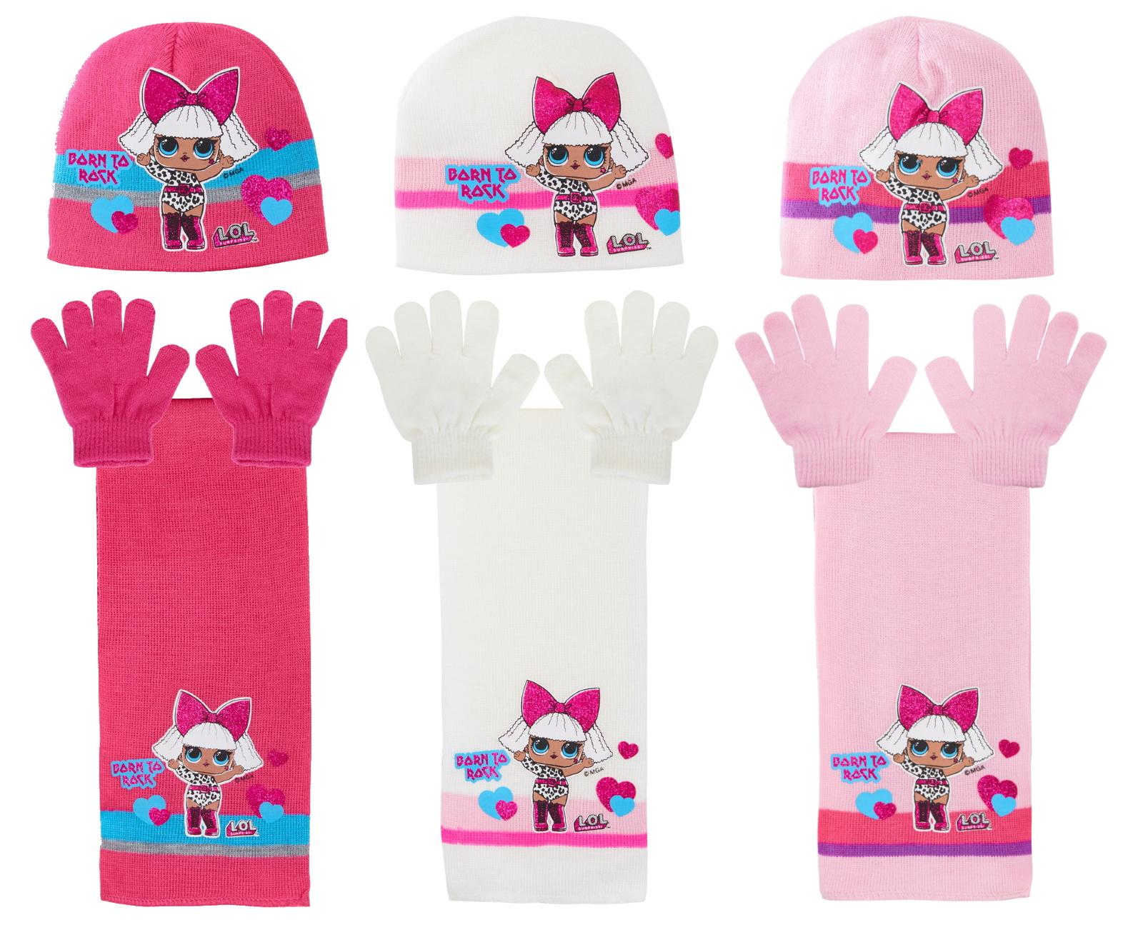 Girls LOL Surprise Dolls Woolly Hat Scarf Warm Winter Set Kids Childrens Gift