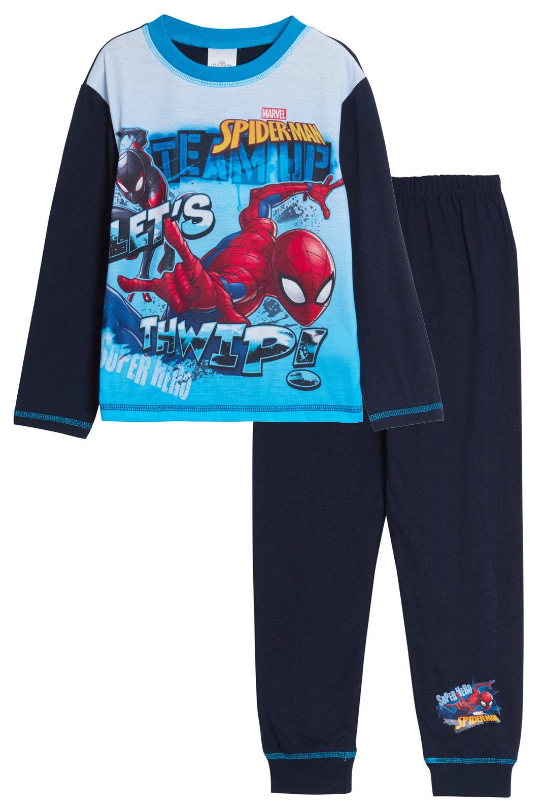 Avengers Boys Long Pyjamas Marvel Super Hero Kids Full Length PJs Blue Grey