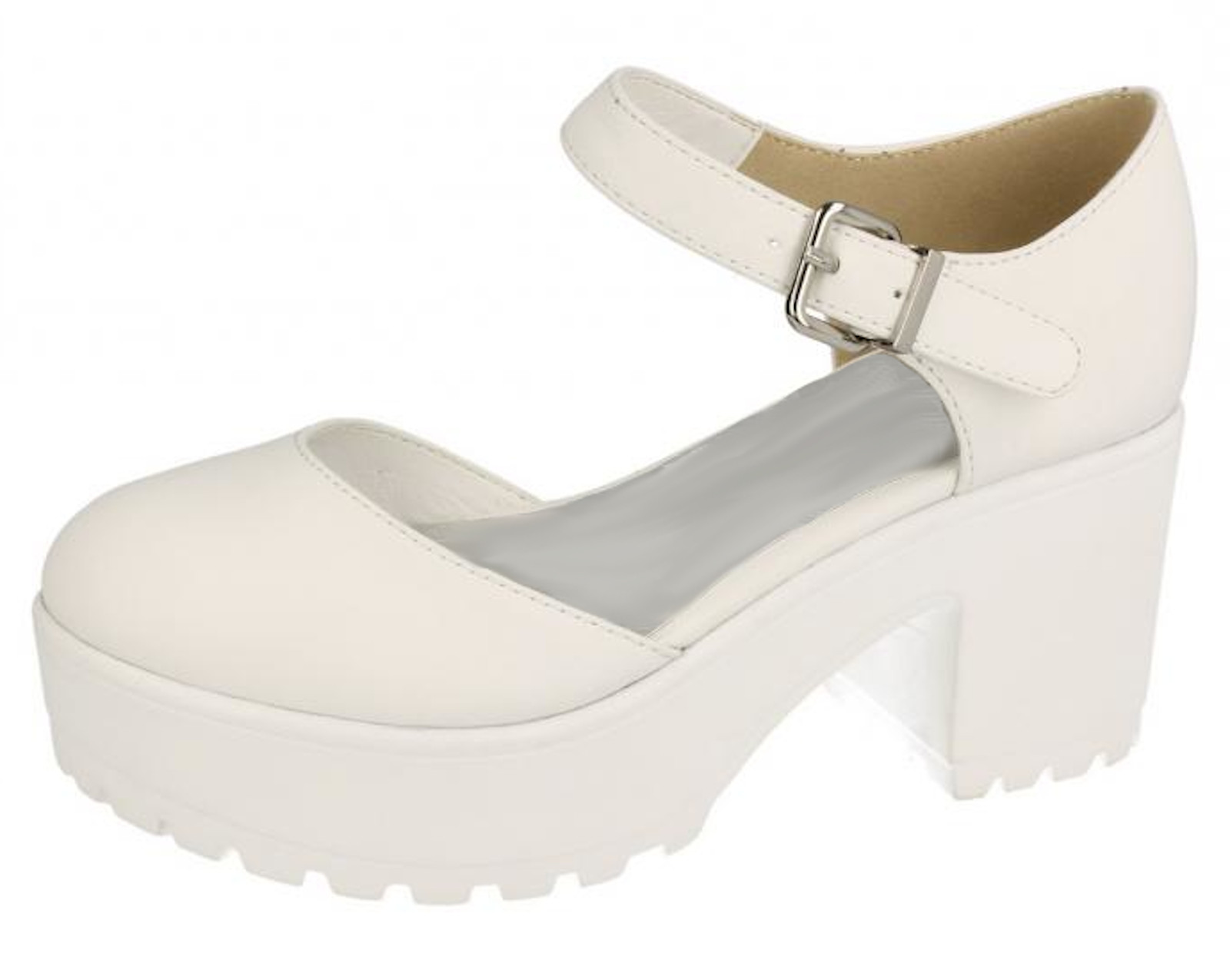 Girls Platform Chunky Low Block Heel Shoes Sandals Kids Closed Toe School Shoes