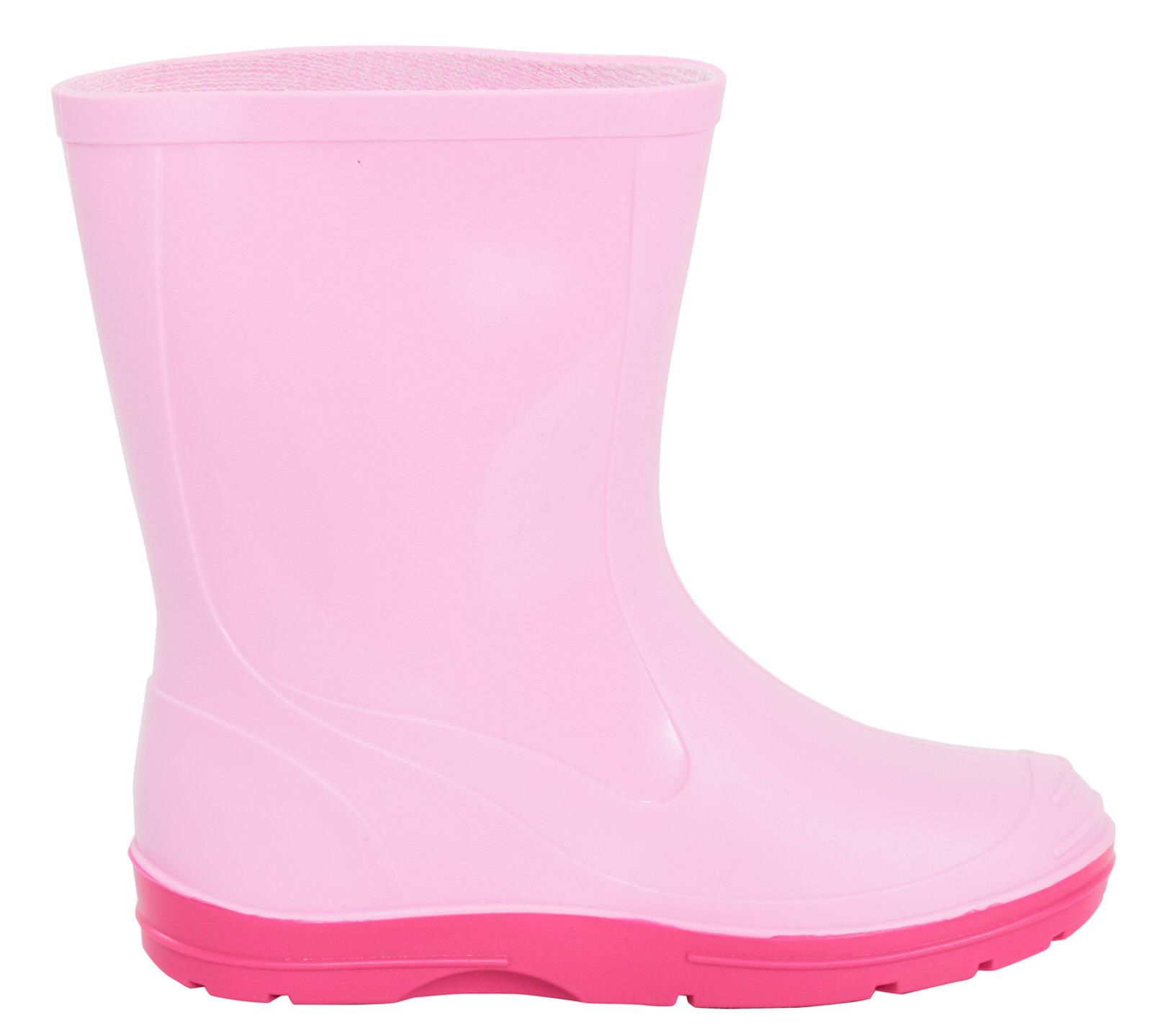 Girls Pink Wellies Mid Calf Rain Snow Boots Wellingtons Kids Waterproof Shoes