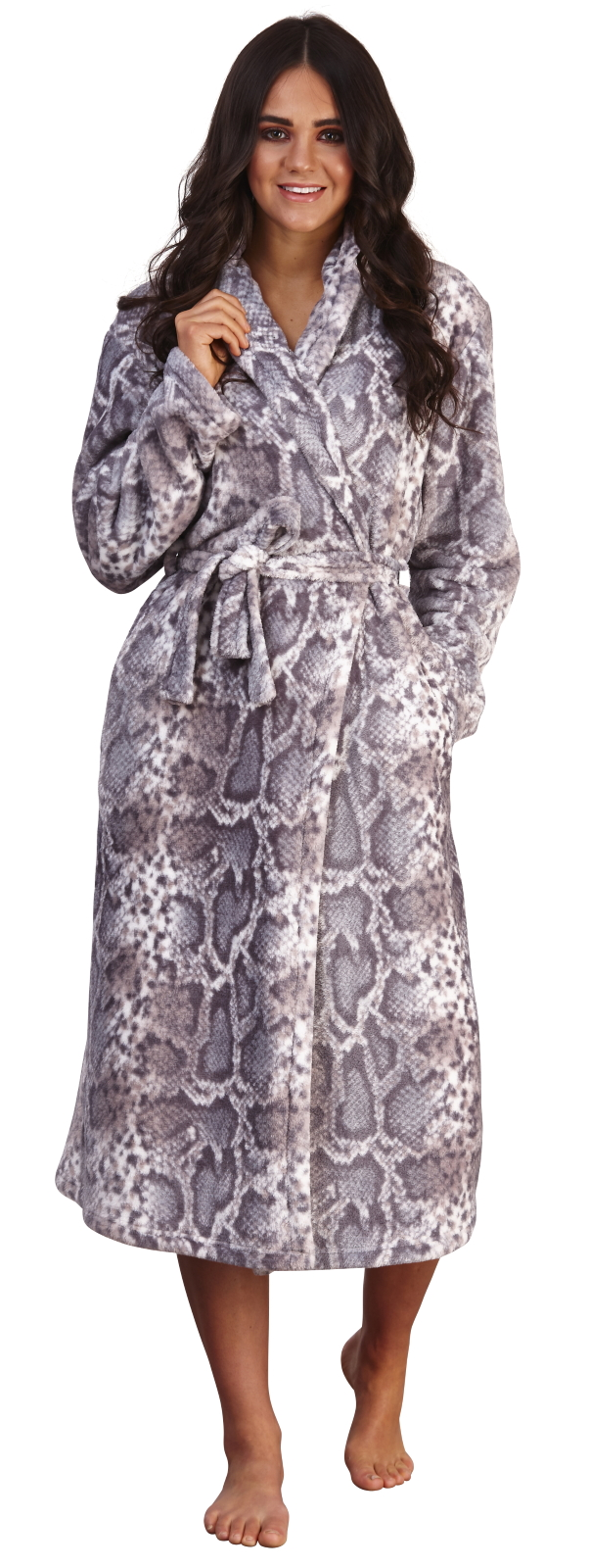 Womens Luxury Dressing Gown Snake Print
