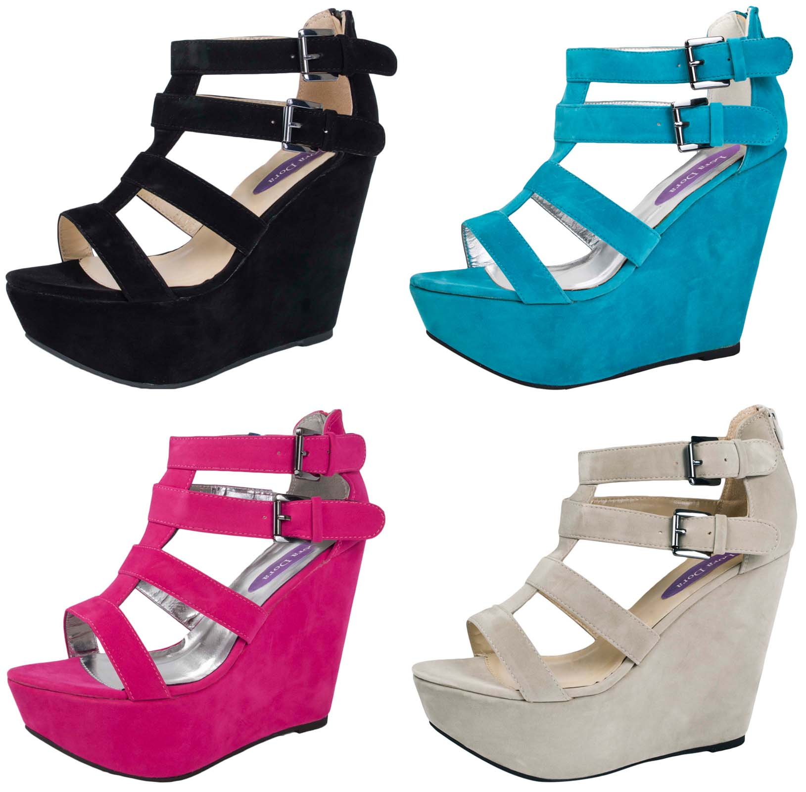 fbd37e2c5ff Womens Wedge Sandals High Heel Platform Wedges Strappy Summer Shoes Ladies  Size