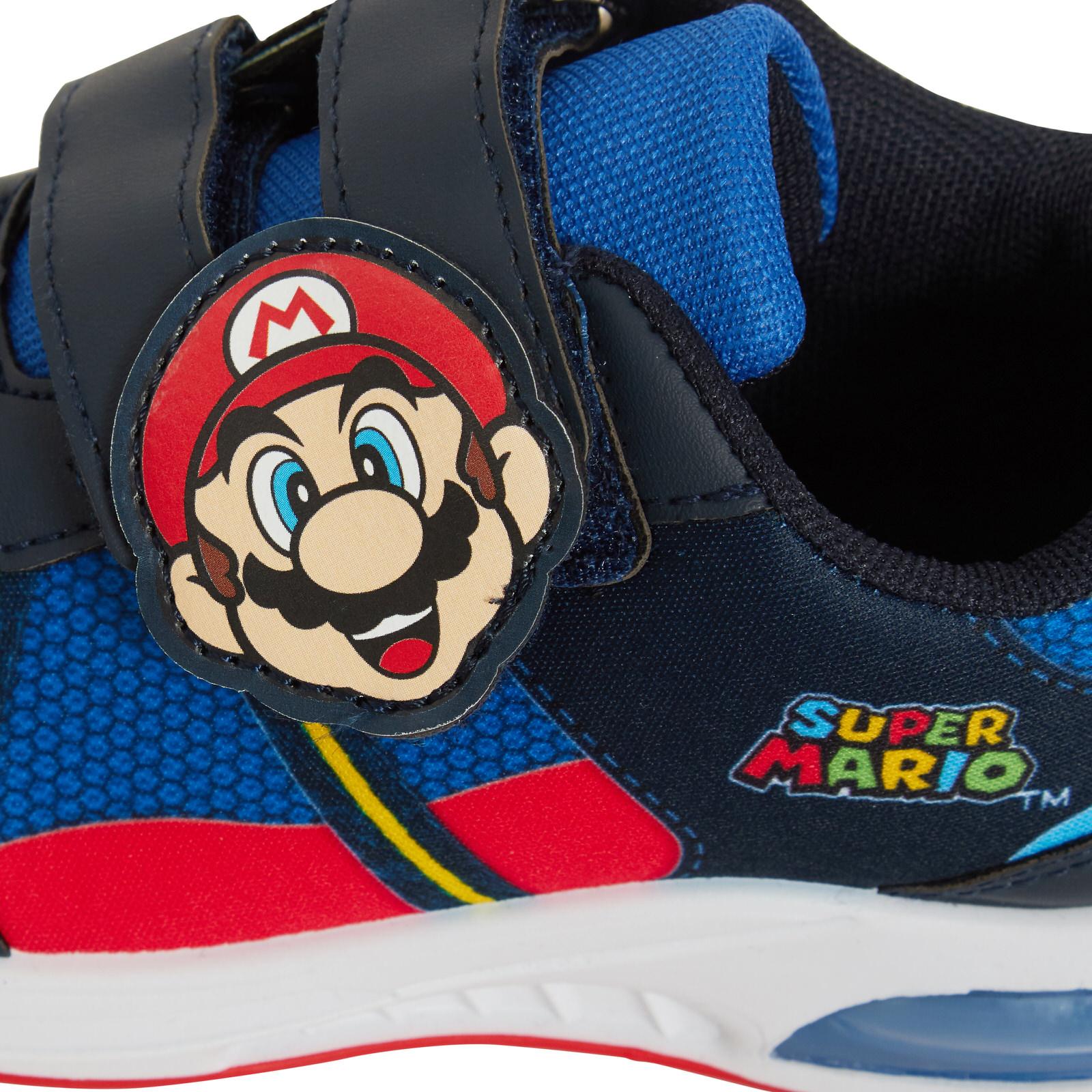 miniatuur 13 - Boys Super Mario Brothers Light Up Trainers Kids Nintendo Flashing Lights Shoes