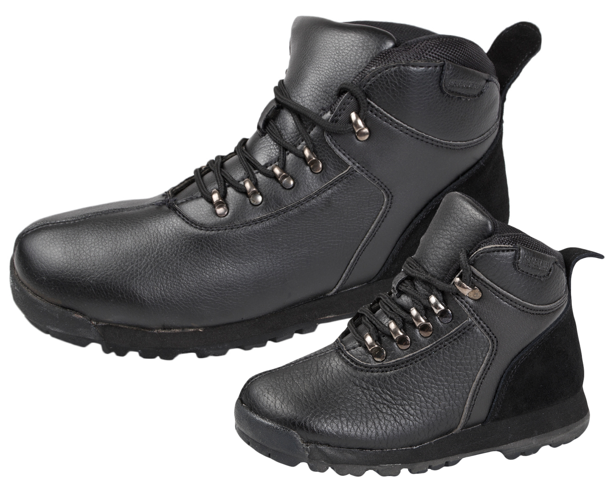 7a8facbe59665 MENS BOYS FAUX LEATHER LACEUP ANKLE WALKING HIKING BOOTS SCHOOL SHOES BLACK  7-12
