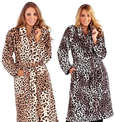 WOMENS LEOPARD FULL LENGTH VELOUR ROBE DRESSING GOWN WITH BELT ...