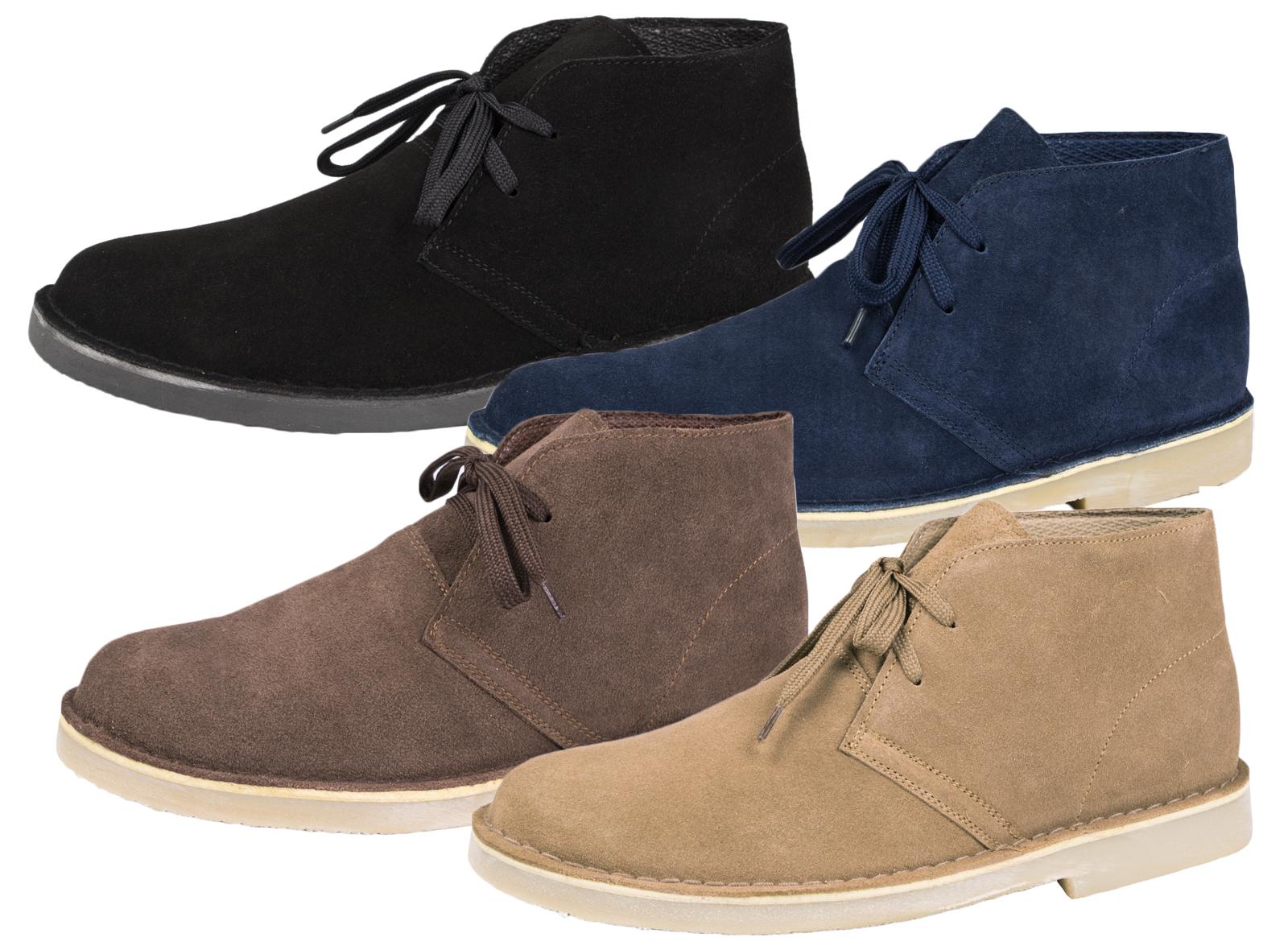Mens Suede Lace Up Desert Boots Faux