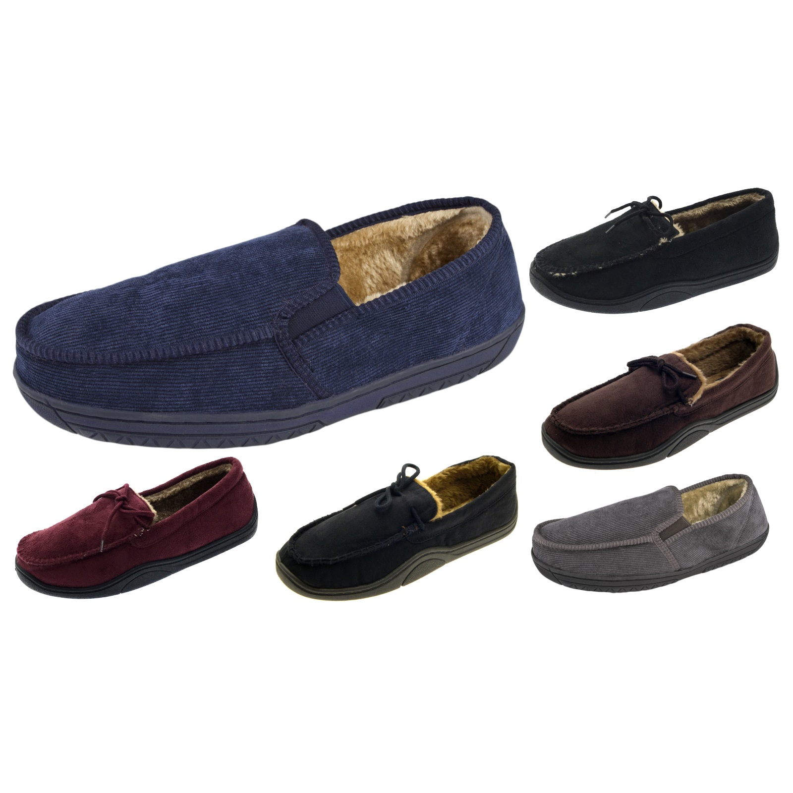 3ebfb6c6687312 Mens Warm Slippers Moccasins Faux Suede Corduroy Sheepskin Fur Lined Shoes  Size