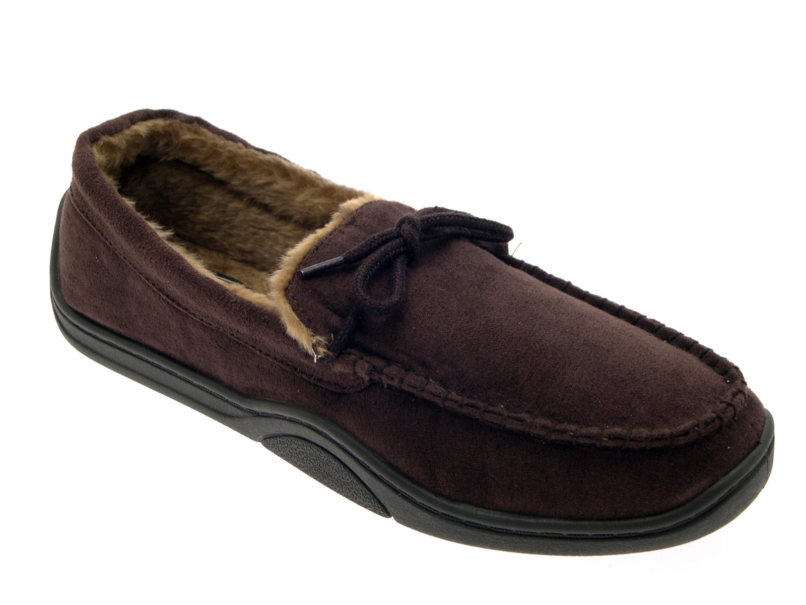 Mens Warm Slippers Moccasins Fauxn Suede Sheepskin Fur ...