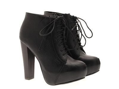 Womens-Platform-Ankle-Boots-Wooden-Block-High-Heels-Lace-Up-Ladies-Shoes-Size miniatuur 14
