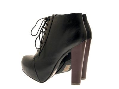 Womens-Platform-Ankle-Boots-Wooden-Block-High-Heels-Lace-Up-Ladies-Shoes-Size miniatuur 15