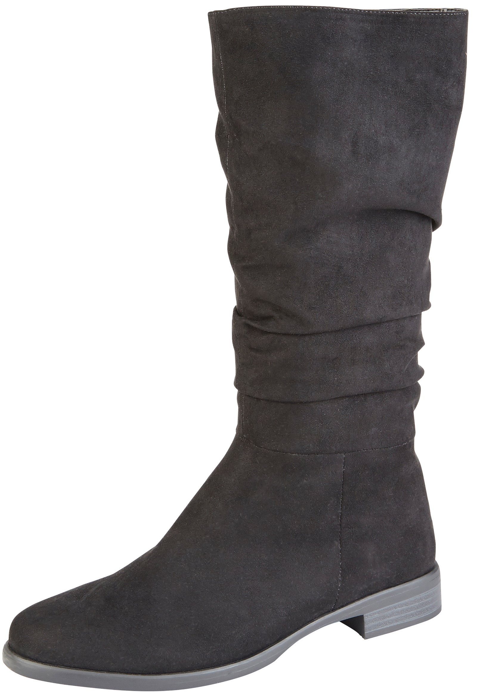 9e53f94ed Girls Faux Leather Suede Slouch Boots Tall Riding Low Heel School Winter  Shoes