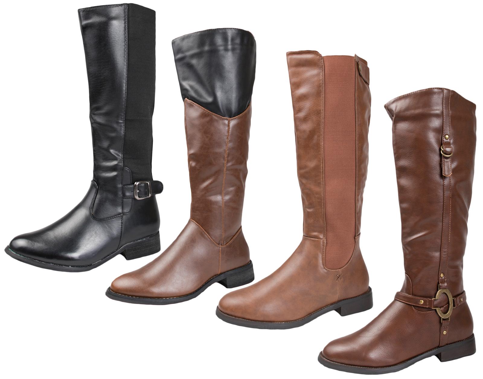 Womens Faux Leather Ladies Knee High Block Heel Flat Biker Zip Riding Boots Shoe