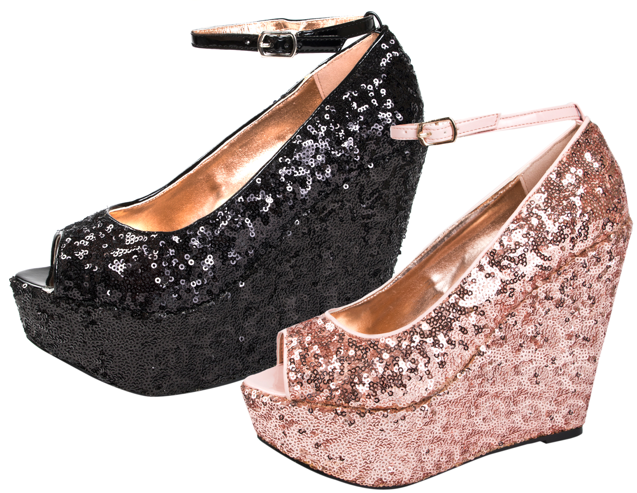 014135dd6345 WOMENS PARTY WEDGE PLATFORM PEEPTOE ANKLE STRAP LADIES SEQUIN WEDGES SHOES  3 - 8