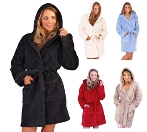 Womens Short Robe Luxury Corel Fleece Hooded Bathrobe