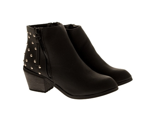 WOMENS-COWBOY-ANKLE-BOOTS-BLOCK-HIGH-HEELS-STUDS-GLITTER-ZIP-LADIES-SHOES-SZ-3-8 miniatuur 65