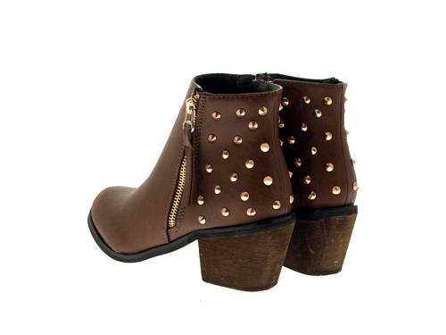 WOMENS-COWBOY-ANKLE-BOOTS-BLOCK-HIGH-HEELS-STUDS-GLITTER-ZIP-LADIES-SHOES-SZ-3-8 miniatuur 75
