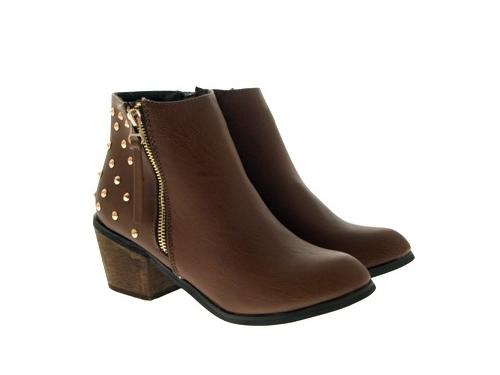 WOMENS-COWBOY-ANKLE-BOOTS-BLOCK-HIGH-HEELS-STUDS-GLITTER-ZIP-LADIES-SHOES-SZ-3-8 miniatuur 77
