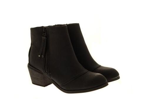 WOMENS-COWBOY-ANKLE-BOOTS-BLOCK-HIGH-HEELS-STUDS-GLITTER-ZIP-LADIES-SHOES-SZ-3-8 miniatuur 47