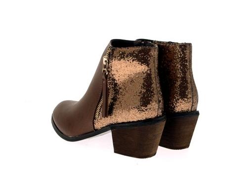 WOMENS-COWBOY-ANKLE-BOOTS-BLOCK-HIGH-HEELS-STUDS-GLITTER-ZIP-LADIES-SHOES-SZ-3-8 miniatuur 36