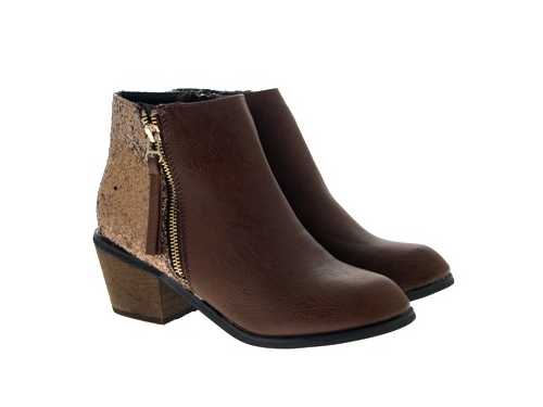 WOMENS-COWBOY-ANKLE-BOOTS-BLOCK-HIGH-HEELS-STUDS-GLITTER-ZIP-LADIES-SHOES-SZ-3-8 miniatuur 32