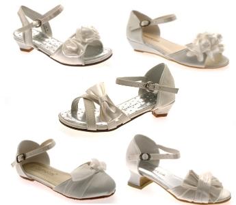 Girls Satin Wedding Bridesmaids Shoes Low Heel Party