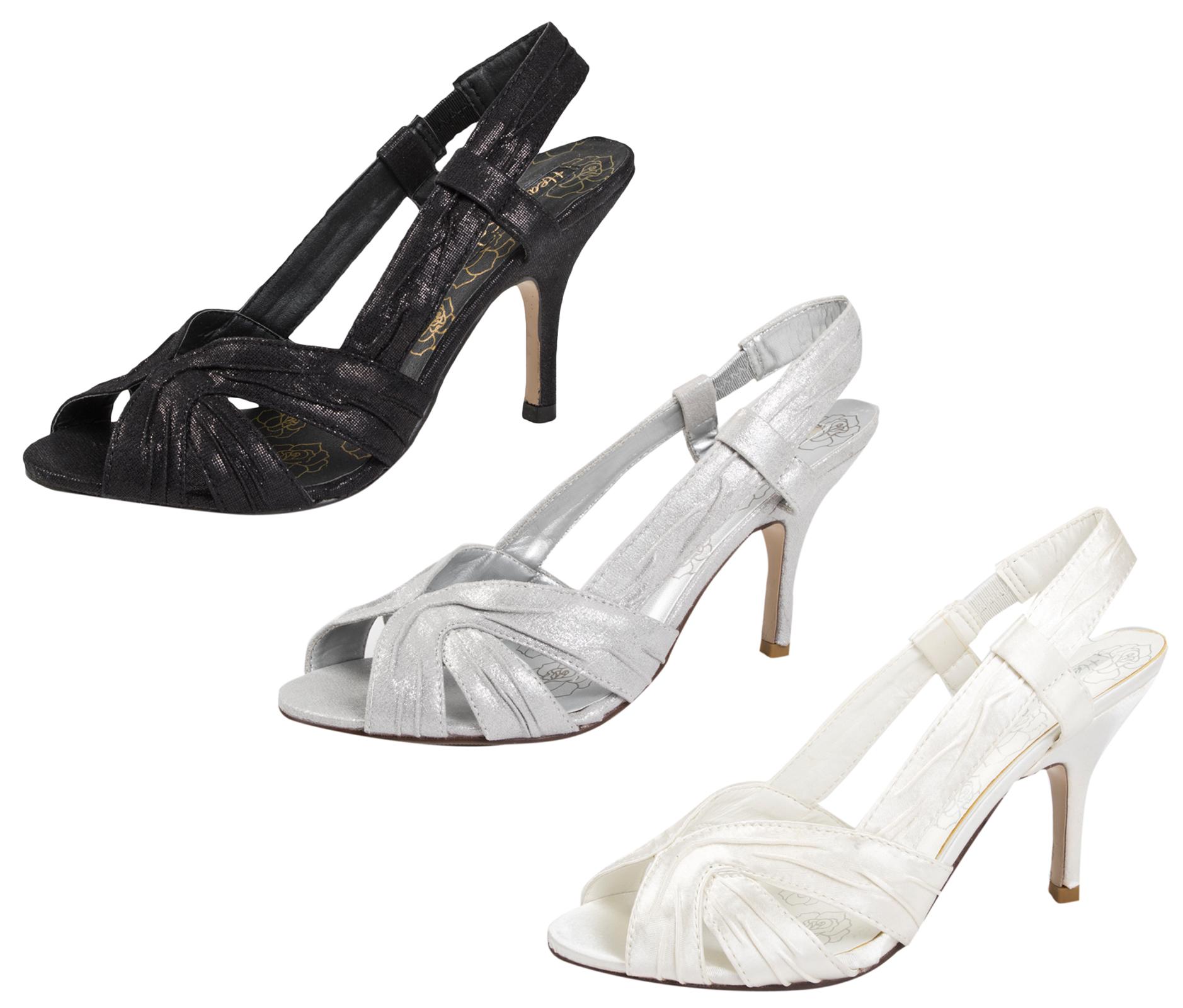 0953f79f02c Womens Satin Bridal Wedding Shoes Stiletto High Heels Strappy Prom Sandals  Size
