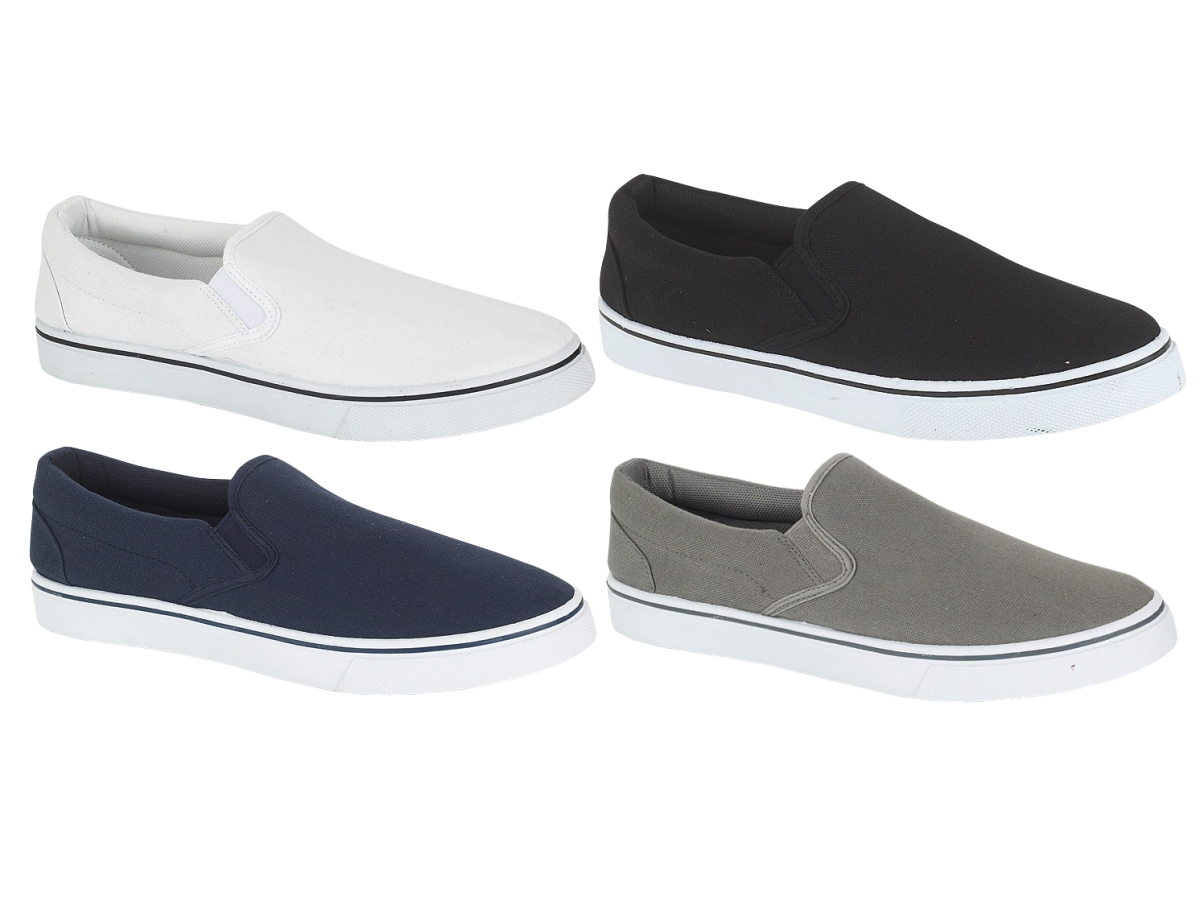 Mens-Canvas-Plimsolls-Slip-On-Flat-Pumps-Trainers-Casual-Gym-Shoes-Boys-Size