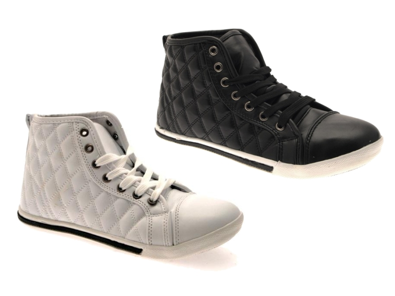 f9915c6b7408 WOMENS QUILTED HI TOP LACES TRAINERS PUMPS ANKLE BOOTS PLIMSOLLS GIRLS  SHOES 3-8