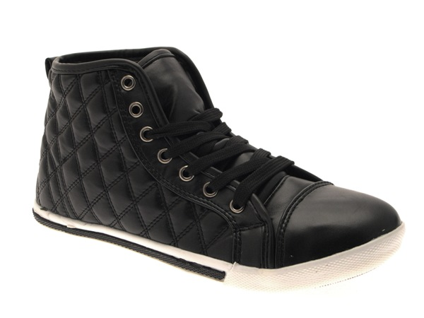 f3249bc466f3 WOMENS QUILTED HI TOP LACES TRAINERS PUMPS ANKLE BOOTS PLIMSOLLS ...