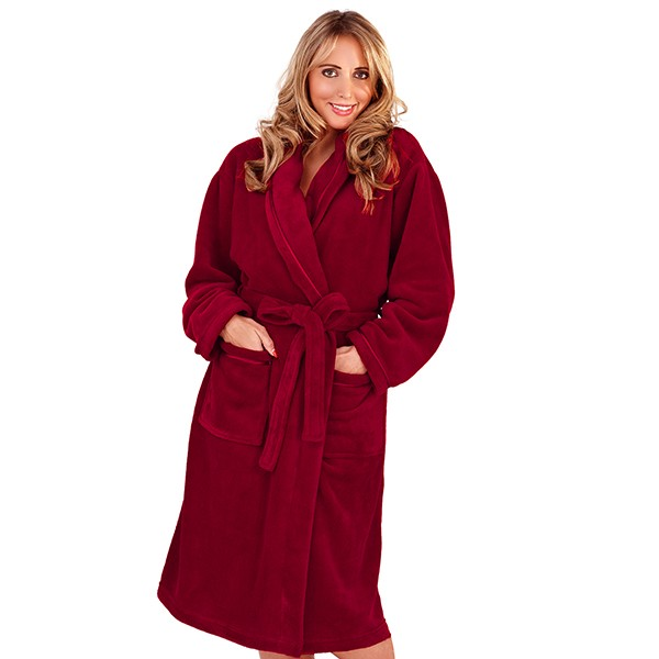 Womens Full Length Fleece Bath Robe Dressing Gown Housecoat Belt