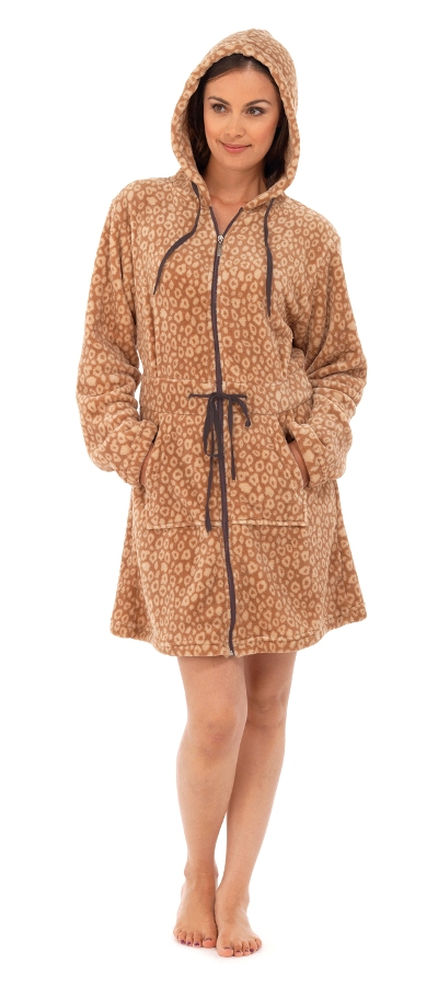WOMENS HOODED HEARTS ZIPPED SHORT BATH ROBE DRESSING GOWN HOUSECOAT ... e94bf564e
