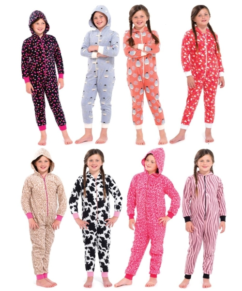kids girls fleece novelty hooded pjs all in one jumpsuit