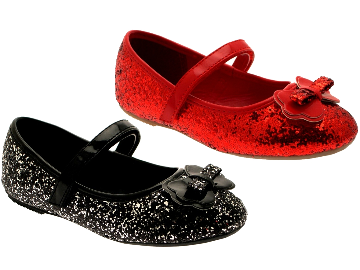 37630711363 GIRLS KIDS CHILDRENS GLITTER BALLET PUMPS XMAS PARTY MARY JANE SHOES SIZE 6  - 12